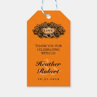 Halloween Wedding Gothic Bold Love Thank You Tag Pack Of Gift Tags