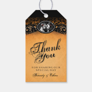 Halloween Wedding Orange Black Thank You Tags Pack Of Gift Tags