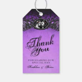 Halloween Wedding Purple Black Thank You Tags Pack Of Gift Tags
