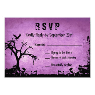 Halloween Wedding RSVP with spooky tree and crow Card