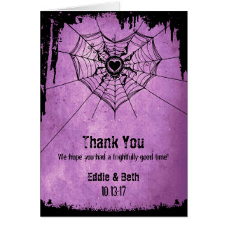 Halloween Wedding Thank You Card with spider