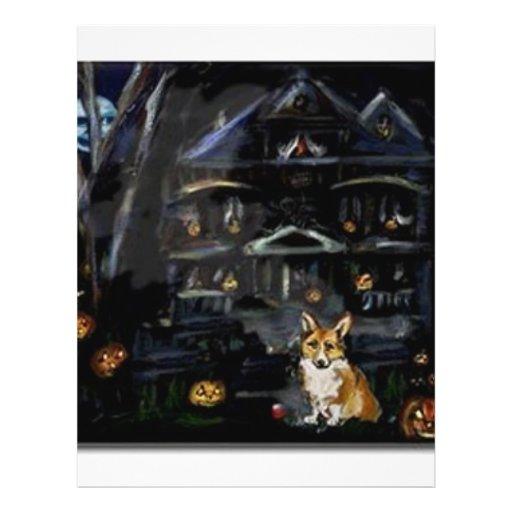 Halloween Welsh Corgi Haunted House Flyer Design