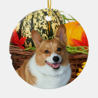 Halloween Welsh corgi Round Ceramic Ornament