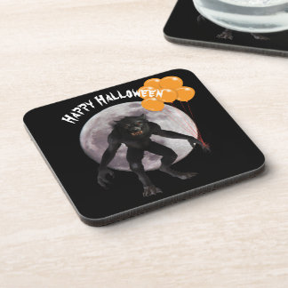Halloween Werewolf With Balloons Coaster