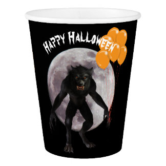 Halloween Werewolf With Balloons Paper Cup