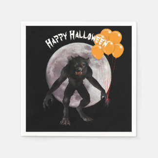 Halloween Werewolf With Balloons Paper Napkins