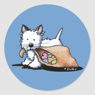 Halloween Westie Dog Cat Classic Round Sticker