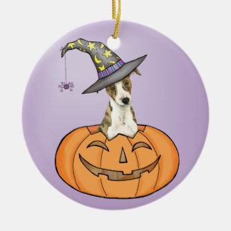 Halloween Whippet Round Ceramic Ornament