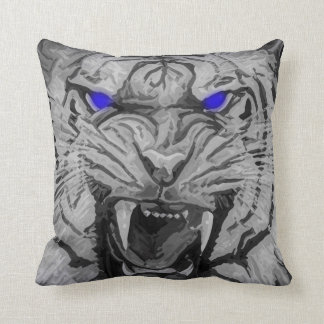 Halloween White Bengal Tiger Blue Glowing Eyes Throw Pillow