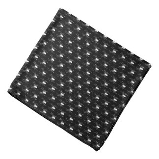 Halloween White Spiders on Black Bandana