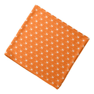 Halloween White Spiders on Orange Bandana