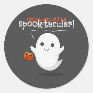 Halloween will be spook-tacular round sticker