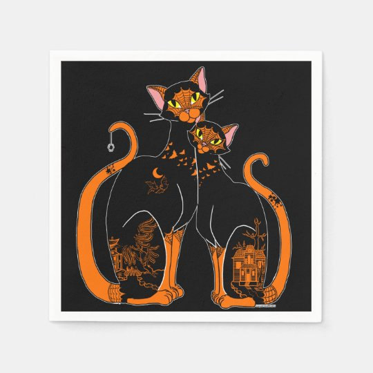 Halloween Willow Pattern Cats Paper Napkins
