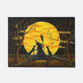 Halloween witch and black cats door mat