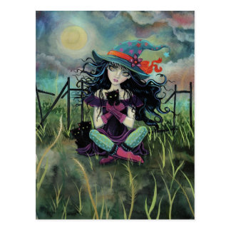 Halloween Witch and Black Cats Fantasy Art Postcard