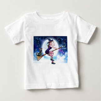 Halloween Witch and Cat Flying Moon Scene Baby T-Shirt