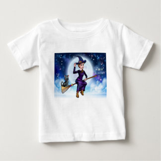 Halloween Witch and Cat on Broomstick Baby T-Shirt