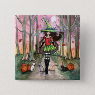 Halloween Witch and Cat Pinback Button