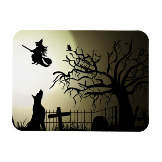 Halloween Witch and Howling Dog Magnet