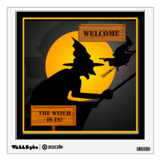 Halloween Witch and Moon Welcome Wall Decal