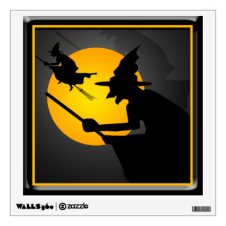Halloween Witch and Moon Window Wall Decal 12x12