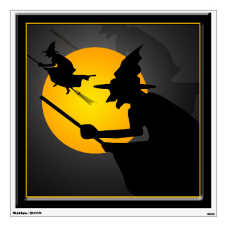 Halloween Witch and Moon Window Wall Decal 30x30