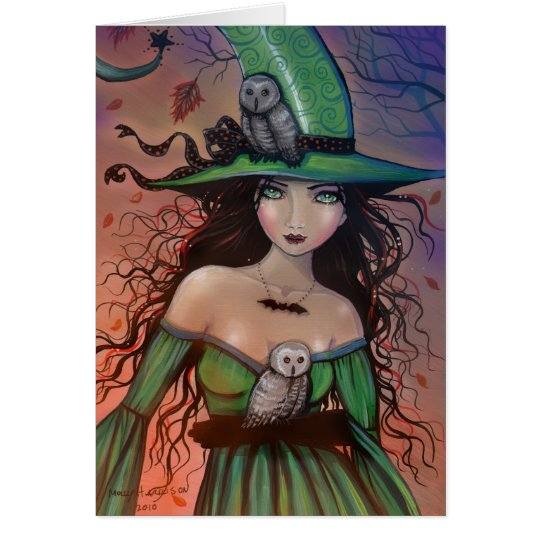 Halloween Witch and Owls Card