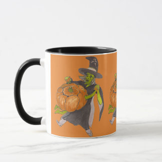 Halloween Witch and Pumpkin Dance Funny Designed Mug