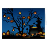 Halloween witch and pumpkins greeting cards