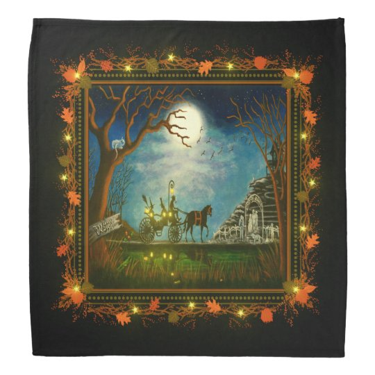 Halloween witch and wizard in horse and carriage bandannas