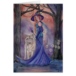 Halloween witch and wolf card by Renee Lavoie