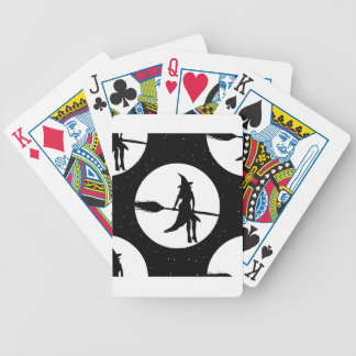 halloween witch bicycle playing cards