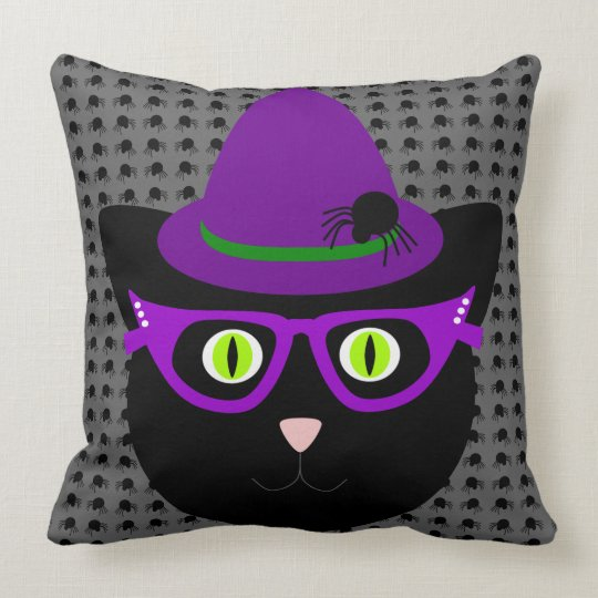 Halloween Witch Black Cat Pillow
