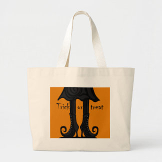Halloween witch boots large tote bag