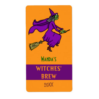 Halloween Witch Cartoon Witches Brew Custom Shipping Label