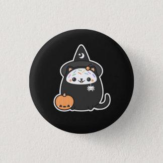 Halloween Witch Cat 1 Inch Round Button