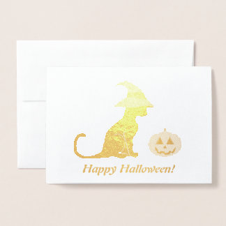 Halloween Witch Cat and Pumpkin Foil Card