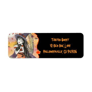 Halloween Witch Cat Return Address Labels