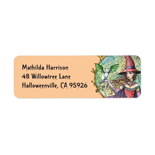 Halloween Witch Cat Return Address Labels