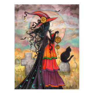 """Halloween Witch Fantasy Art by Molly Harrison"""" Postcard"""