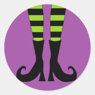 Halloween Witch Feet Classic Round Sticker