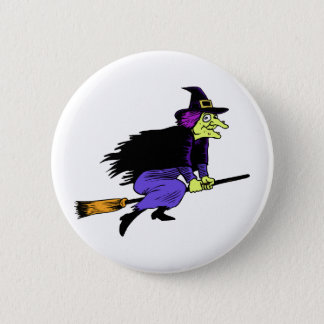 Halloween Witch Flying On A Broomstick 2 Inch Round Button