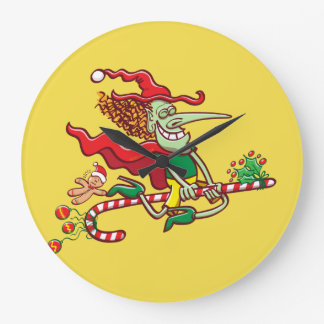 Halloween witch flying on a Christmas candy cane Large Clock