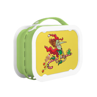 Halloween witch flying on a Christmas candy cane Lunch Box