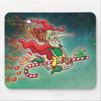 Halloween witch flying on a Christmas candy cane Mouse Pad