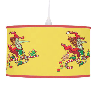 Halloween witch flying on a Christmas candy cane Pendant Lamp