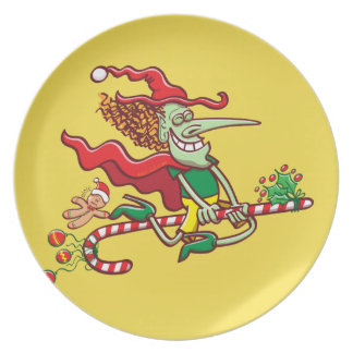 Halloween witch flying on a Christmas candy cane Plate