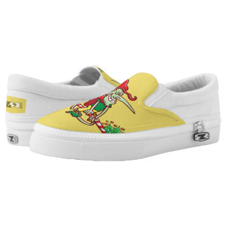 Halloween witch flying on a Christmas candy cane Slip-On Sneakers