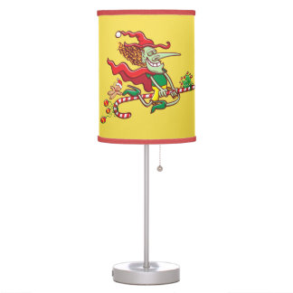 Halloween witch flying on a Christmas candy cane Table Lamp