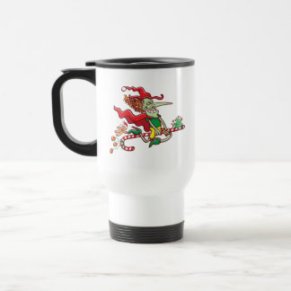 Halloween witch flying on a Christmas candy cane Travel Mug